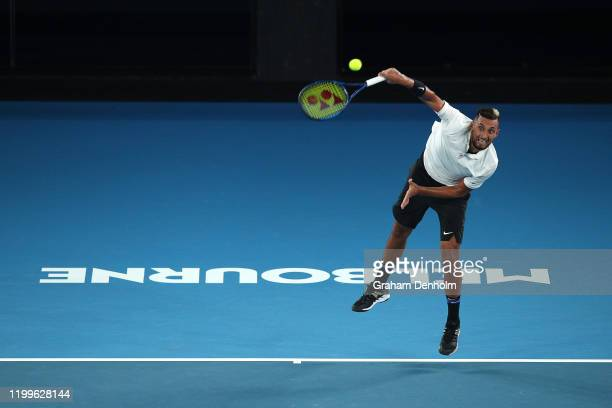 Nick Kyrgios of Australia takes part in the Rally for Relief Bushfire Appeal event at Rod Laver Arena on January 15 2020 in Melbourne Australia