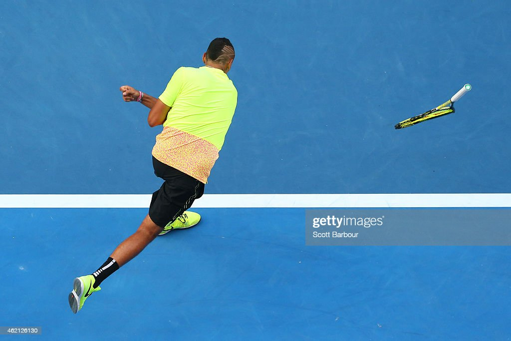 Nick Kyrgios of Australia throws a racquet in his fourth round match against Andreas Seppi of Italy during day seven of the 2015 Australian Open at Melbourne Park on January 25, 2015 in Melbourne, Australia.