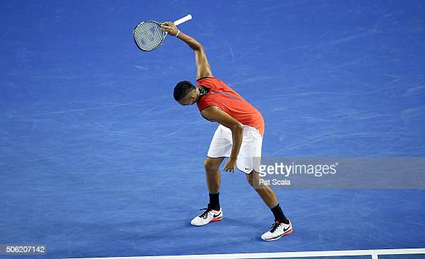 Nick Kyrgios of Australia throws his racquet in disgust during his third round match against Tomas Berdych of Czech Republic on day five of the 2016...