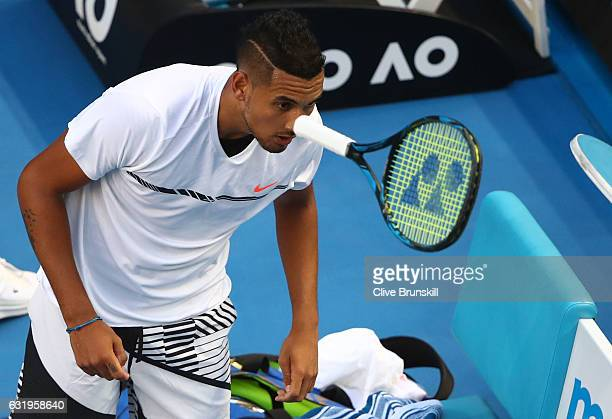Nick Kyrgios of Australia throws his racquet in his second round match against Andreas Seppi of Italy on day three of the 2017 Australian Open at...