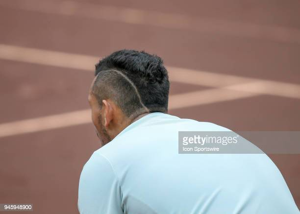 Nick Kyrgios of Australia waits the for serve in the match against Ivo Karlovic of Croatia during the Quarterfinal round of the Men's Clay Court...