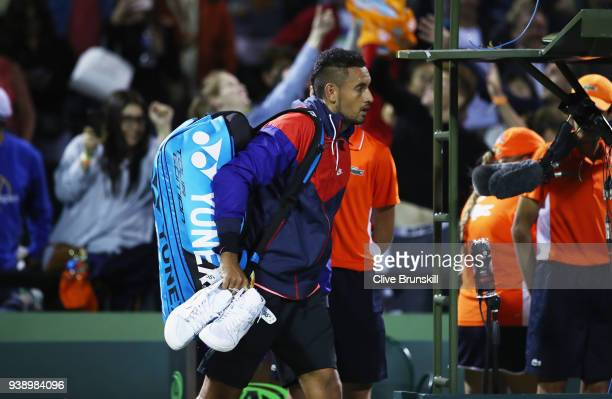 Nick Kyrgios of Australia walks off court after his straight sets defeat against Alexander Zverev of Germany in their fourth round match during the...