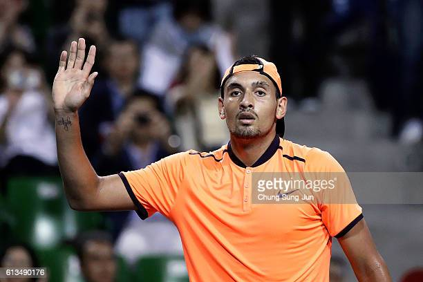 Nick Kyrgios of Australia waves for fans after winning the men's singles final match against David Goffin of Belgium on day seven of Rakuten Open...