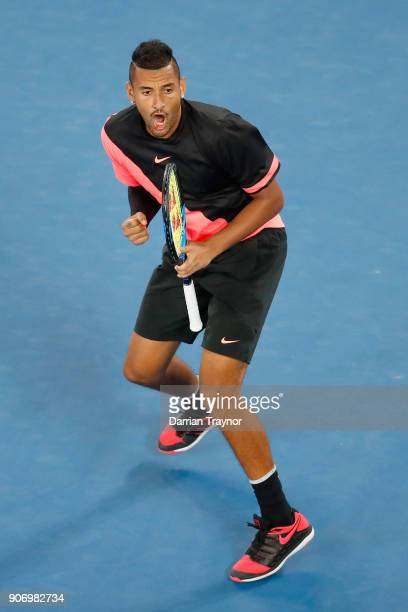 Nick Kyrgios of Australia wins the third set during his third round match against Jo Wilfried Tsonga of France on day five of the 2018 Australian...