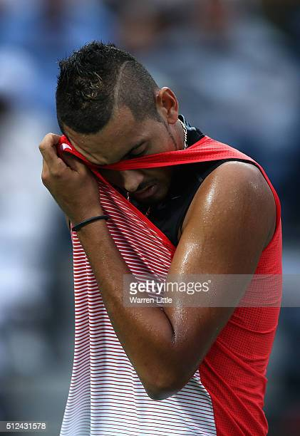 Nick Kyrgios of Australia wipes his brow during his semi final match against Stan Wawrinka of Switzerland on day seven of the ATP Dubai Duty Free...