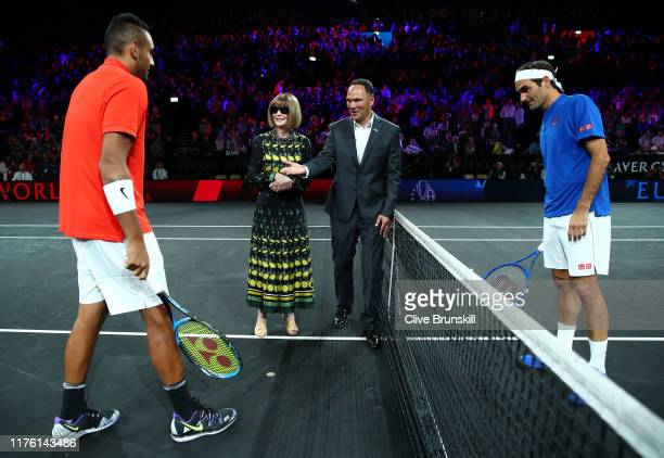 Nick Kyrgios of Team World Anna Wintour Editorinchief of Vogue and Artistic Director of Conde Nast and Roger Federer of Team Europe take part in the...