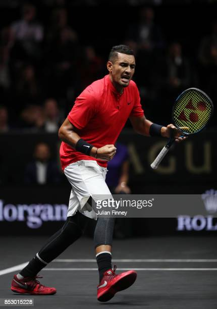 Nick Kyrgios of Team World celebrates winning a point during his mens singles match against Roger Federer of Team Europe on the final day of the...