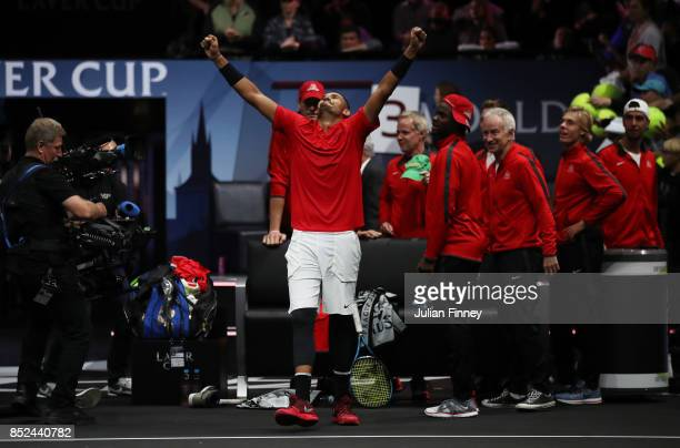 Nick Kyrgios of Team World celebrates winning his singles match against Tomas Berdych of Team Europe on Day 2 of the Laver Cup on September 23 2017...