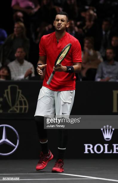 Nick Kyrgios of Team World looks dejected during his mens singles match against Roger Federer of Team Europe on the final day of the Laver cup on...