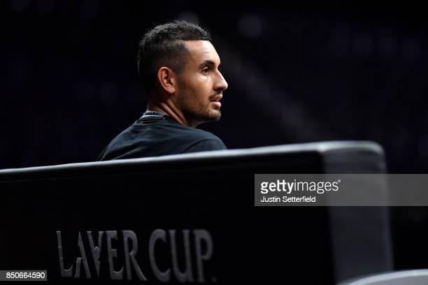 Nick Kyrgios of Team World looks on during practice ahead of the Laver Cup on September 21 2017 in Prague Czech Republic The Laver Cup consists of...