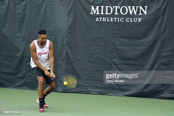 Nick Kyrgios of Team World participates in a practice session prior to the Laver Cup at the United Center on September 18 2018 in Chicago Illinois...