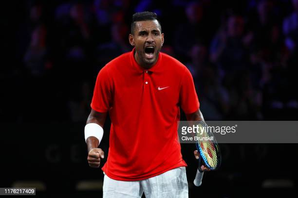 Nick Kyrgios of Team World, playing partner of Jack Sock celebrates in their doubles match against Rafael Nadal and Stefanos Tsitsipas of Team Europe...