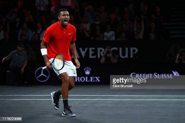 Nick Kyrgios of Team World, playing partner of Jack Sock celebrates match point in their doubles match against Rafael Nadal and Stefanos Tsitsipas of...
