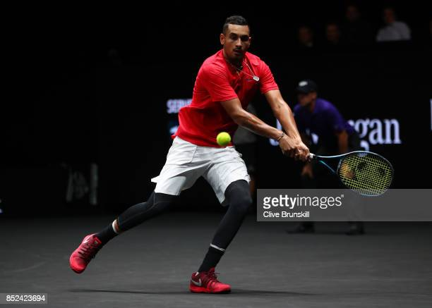 Nick Kyrgios of Team World plays a backhand during his singles match against Tomas Berdych of Team Europe on Day 2 of the Laver Cup on September 23...
