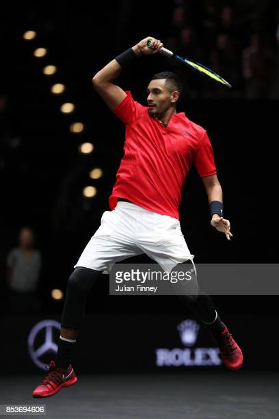 Nick Kyrgios of Team World plays a forehand during his mens singles match against Roger Federer of Team Europe on the final day of the Laver cup on...
