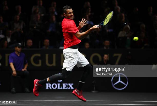 Nick Kyrgios of Team World plays a forehand during his singles match against Tomas Berdych of Team Europe on Day 2 of the Laver Cup on September 23...