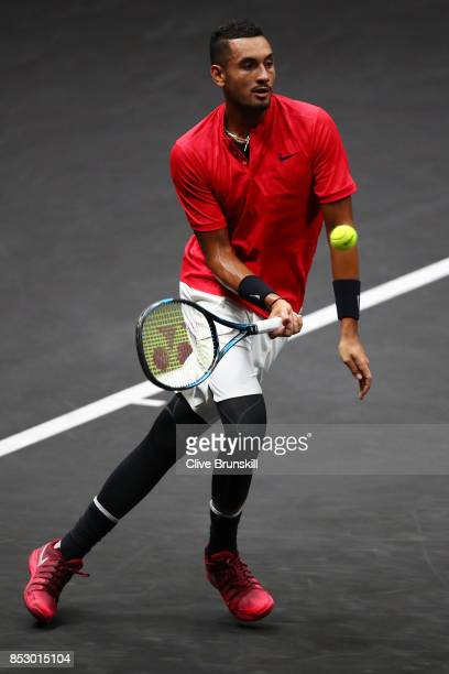 Nick Kyrgios of Team World plays a forehand on the run during his mens singles match against Roger Federer of Team Europe on the final day of the...