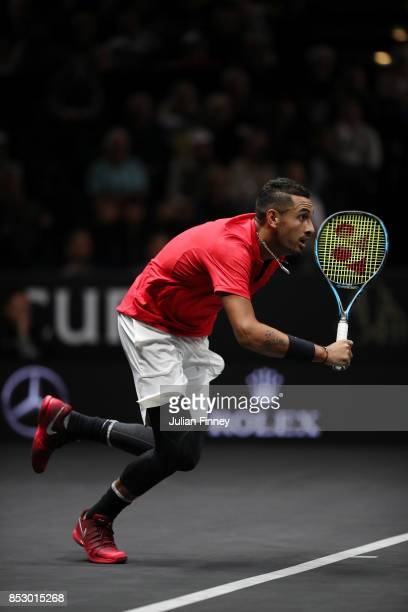 Nick Kyrgios of Team World plays on the run during his mens singles match against Roger Federer of Team Europe on the final day of the Laver cup on...