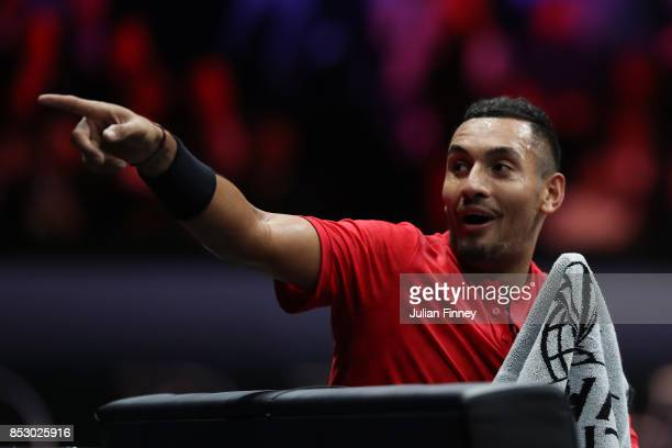 Nick Kyrgios of Team World points to the bench during his mens singles match against Roger Federer of Team Europe on the final day of the Laver cup...
