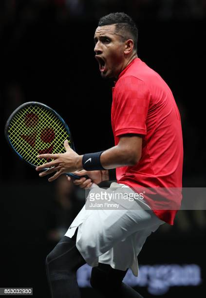 Nick Kyrgios of Team World reacts during his mens singles match against Roger Federer of Team Europe on the final day of the Laver cup on September...