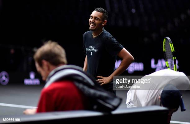 Nick Kyrgios of Team World reacts during practice ahead of the Laver Cup on September 21 2017 in Prague Czech Republic The Laver Cup consists of six...