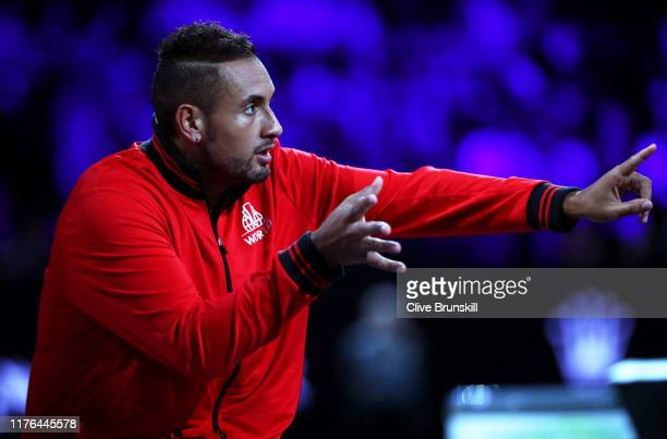 Nick Kyrgios of Team World reacts in the singles match between Dominic Thiem of Team Europe and Taylor Fritz of Team World during Day Three of the...