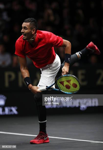 Nick Kyrgios of Team World serves during his mens singles match against Roger Federer of Team Europe on the final day of the Laver cup on September...