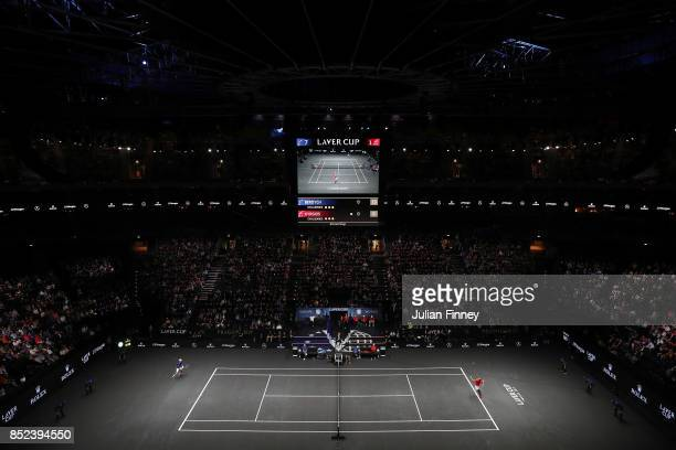 Nick Kyrgios of Team World serves during his singles match against Tomas Berdych of Team Europe on Day 2 of the Laver Cup on September 23 2017 in...