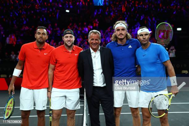 Nick Kyrgios, playing partner of Jack Sock of Team World, Chris Kermode, CEO of ATP and Stefanos Tsitsipas, plying partner of Rafael Nadal of Team...