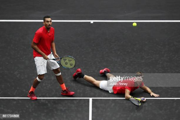 Nick Kyrgios playing with Jack Sock of Team World during there doubles match against Tomas Berdych and Rafael Nadal of Team Europe on the first day...