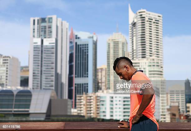 Nick Kyrgios prepares to speak to the media ahead of the Fast4International Exhibition this evening at the ICC Sydney Theatre on January 9 2017 in...