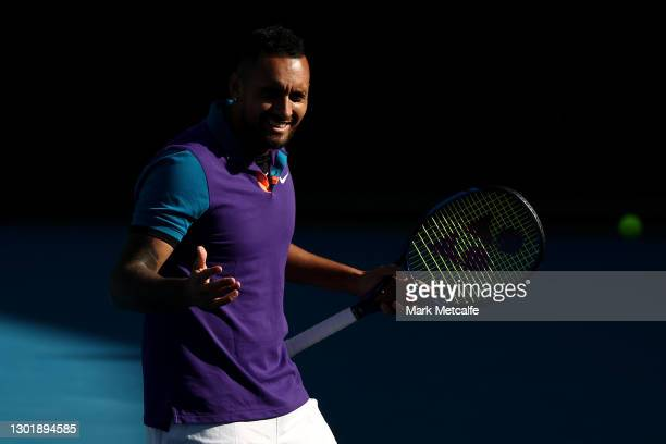 Nick Kyrgios reacts in his Men's Doubles second round match with partner Thanasi Kokkinakis of Australia against Lloyd Harris of South Africa and...