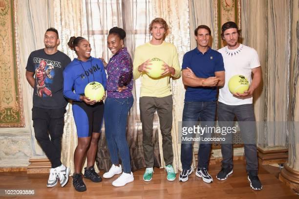 Nick Kyrgios Serena Williams Venus Williams Alexander Zverev Rafael Nadal and Mischa Zverev attend 2018 Lotte New York Palace Invitational on August...