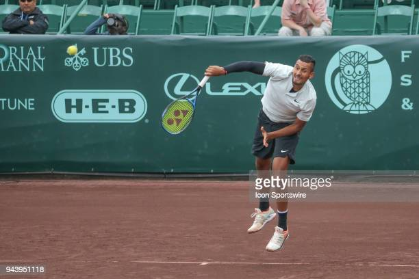 Nick Kyrgios serves during the Doubles first round of the US Men's Clay Court Championship on April 9 2018 at River Oaks Country Club in Houston Texas