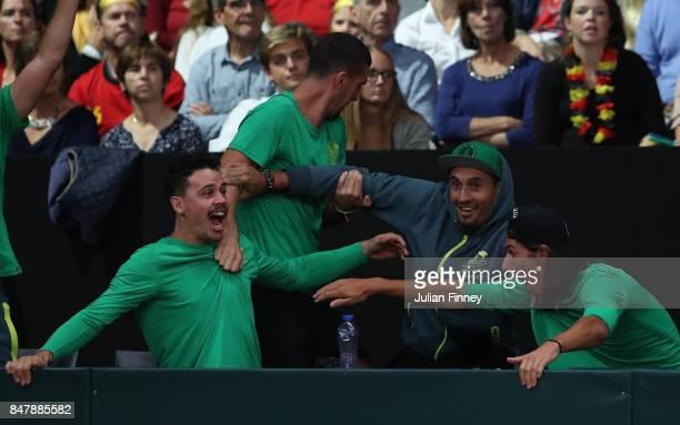 Nick Kyrgios Thanasi Kokkinakis and Alexei Popyrin of Australia celebrate a point as John Peers and Jordan Thompson of Australia play in the doubles...