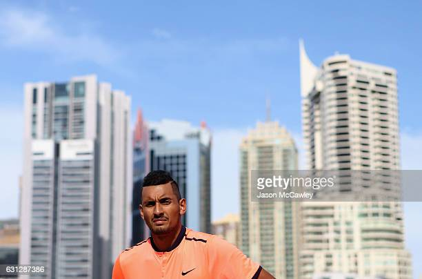 Nick Kyrgios watches on ahead of the Fast4International Exhibition this evening at the ICC Sydney Theatre on January 9 2017 in Sydney Australia