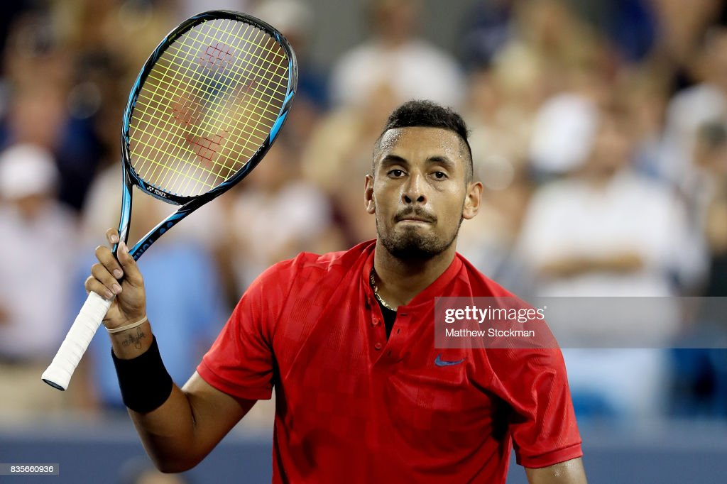 Nick Kyrgiuos of Australia acknowledges the crowd after defeating David Ferrer of Spain during day 8 of the Western & Southern Open at the Lindner Family Tennis Center on August 19, 2017 in Mason, Ohio.
