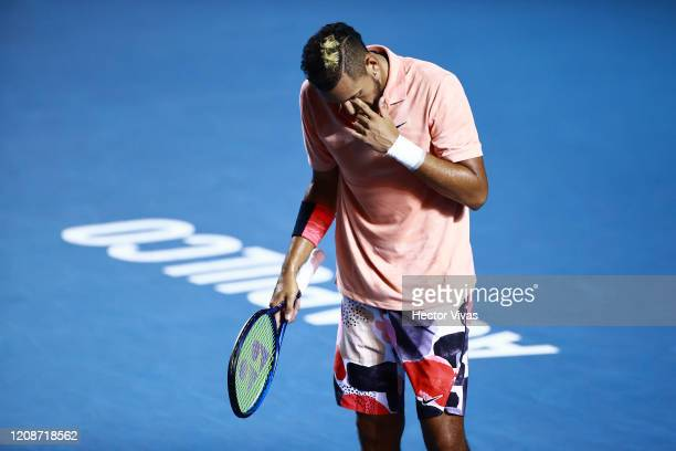 Nick Kyrigios of Australia reacts during the singles match between Nick Kyrigios of Australia and Ugo Humbert of France as part of the ATP Mexican...