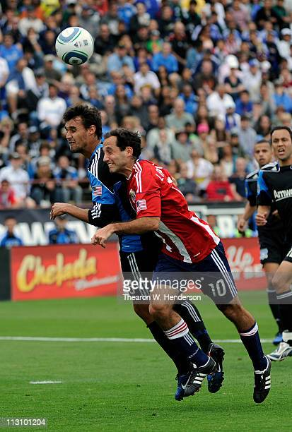 Nick LaBrocca of the Chivas USA battles for a header with Chris Wondolowski of the San Jose Earthquakes during an MLS soccer game at Buck Shaw...