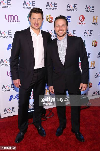 Nick Lachey and Drew Lachey attend the 2014 A+E Networks Upfronts at Park Avenue Armory on May 8, 2014 in New York City.