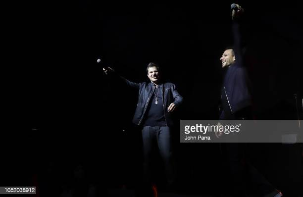 Nick Lachey and Drew Lachey of 98 Degrees perform at Fountainbleau Miami Beach on October 12 2018 in Miami Beach Florida