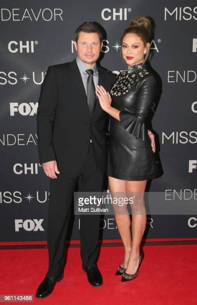 Nick Lachey and his wife Vanessa pose for photos the red carpet at the Shreveport Convention Center prior to the 2018 Miss USA on May 21 2018 in...