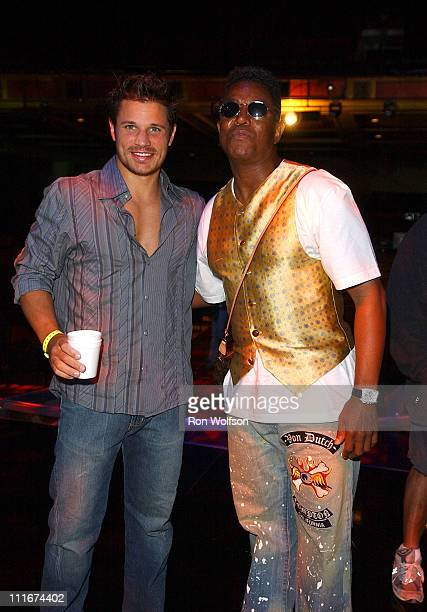 Nick Lachey and Jermaine Jackson during Motown 45 Anniversary Celebration Airing in May on ABC Rehearsals Day 1 at The Shrine Auditorium in Los...