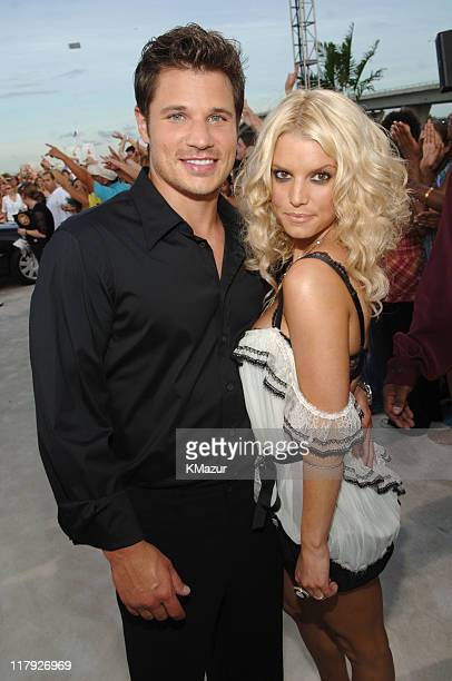 Nick Lachey and Jessica Simpson during 2005 MTV Video Music Awards - White Carpet at American Airlines Arena in Miami, Florida, United States.
