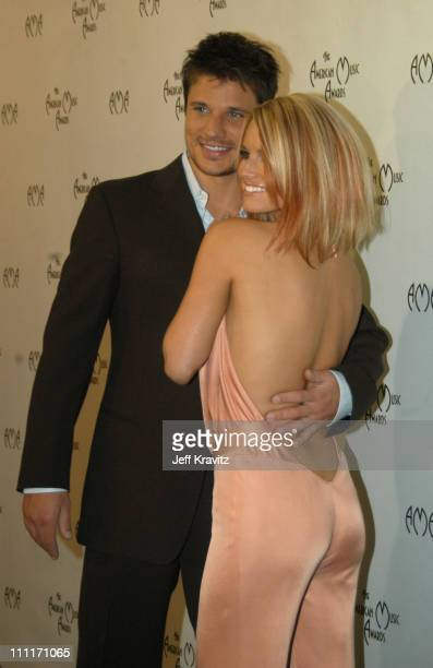 Nick Lachey and Jessica Simpson during 31st Annual American Music Awards Backstage and Audience at The Shrine Auditorium in Los Angeles California...