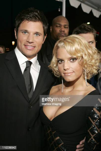 Nick Lachey and Jessica Simpson during 31st Annual People's Choice Awards ET and The Insider Arrivals at Pasadena Civic Auditorium in Pasadena...