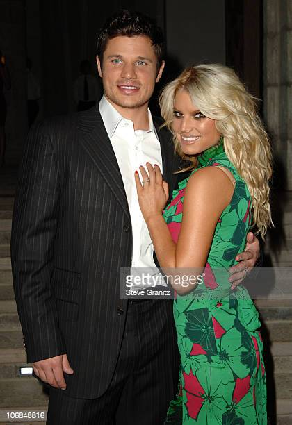 Nick Lachey and Jessica Simpson during Gucci Spring 2006 Fashion Show to Benefit Children's Action Network and Westside Children's Center Arrivals at...