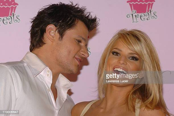 Nick Lachey and Jessica Simpson during Jessica Simpson Celebrates the Launch of Dessert Treats at Industria NYC in New York City, New York, United...