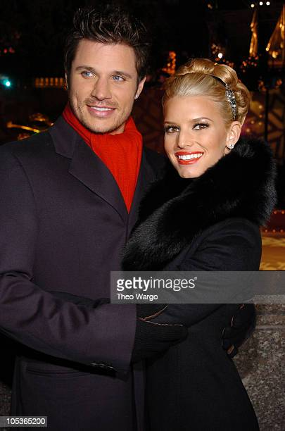 Nick Lachey and Jessica Simpson during Rockefeller Plaza 2004 Christmas Tree Lighting Ceremony at Rockefeller Plaza in New York City, New York,...