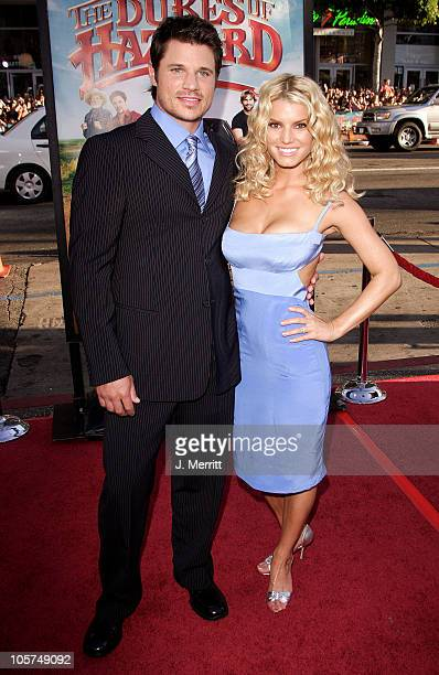 """Nick Lachey and Jessica Simpson during """"The Dukes Of Hazzard"""" Los Angeles Premiere - Arrivals at Grauman's Chinese Theatre in Hollywood, California,..."""